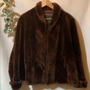 Vintage Teddy coat, brown fuzzy swing small